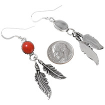 Red Silver Native American  Earrings 29406