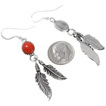 Red Silver Native American  Earrings 29406