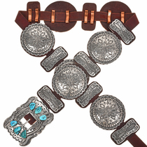 Hammered Silver Sleeping Beauty Turquoise Concho Belt 20167