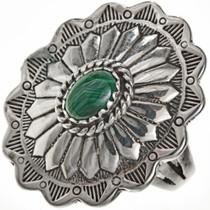 Malachite Silver Concho Ring 28943