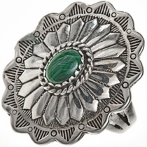 Malachite Silver Concho Ring 28943
