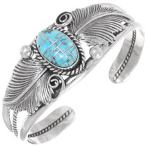Inlaid Turquoise Sterling Ladies Cuff 12303