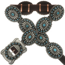 Genuine Natural Turquoise Silver Concho Belt 16831
