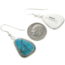 Native American Turquoise French Hooks Earrings 28581