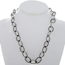 Black Onyx Inlaid Silver Link Necklace 27727