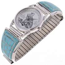 Blue Turquoise Inlaid Watch 24515