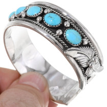 Turquoise Silver Navajo Cuff Bracelet 22483