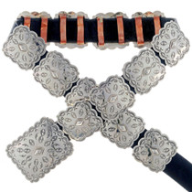 Navajo All Silver Concho Belt 22679