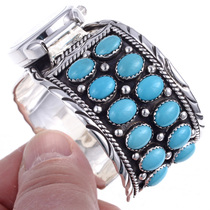 Turquoise Cluster Silver Design Watch Bracelet 24525