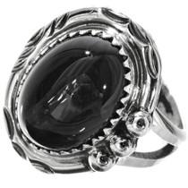 Black Onyx Ladies Silver Ring 28744