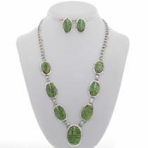 Navajo Gaspeite Opal Silver Y Necklace 27715