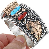 Gold Turquoise Watch Navajo Artist Ahasteen 24470