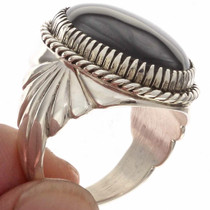 Navajo Black Silver Mens Ring 22040