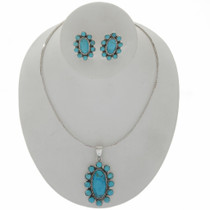 Turquoise Cluster Necklace Earrings Set 27713