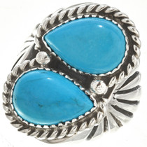 Two Stone Turquoise Mens Ring 25713