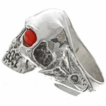 Native American Coral Mens Skull Ring 26738