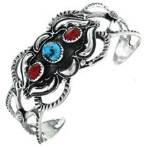 Navajo Turquoise Coral Ladies Bracelet 29577