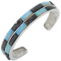 Opal Jet Inlay Silver Bracelet 28344