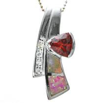 Inlaid Opal Garnet  Pendant 0886