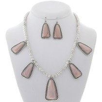Pink Shell Silver Navajo Necklace Set 27978