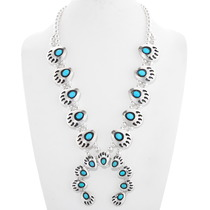 Natural Turquoise Squash Blossom Necklace 26437