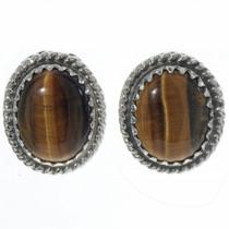 Tigers Eye Silver Navajo Earrings 28445