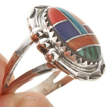 Inlaid Multi-stone Silver Ring 28745