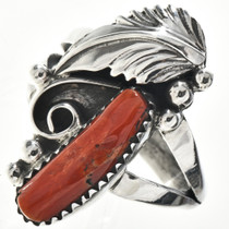 Mediterranean Coral Native American Ring 24949