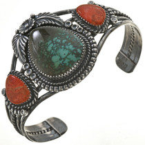 Turquoise Coral Silver Bracelet 28632