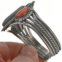 Navajo Turquoise Coral Cuff Bracelet 28632