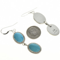 Navajo Two Stone Turquoise Earrings 22397