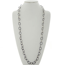 Inlaid Lapis Sterling Silver Link Necklace 27906