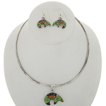 Inlaid Turquoise Opal Silver Bear Necklace Set 1998