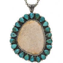 Fossil Coral Turquoise Silver Pendant Necklace Navajo Made 1126