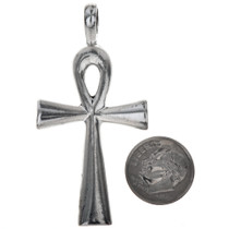 Sterling Silver Ankh Cross Pendant Charm Bracelet Charm Necklace XLG