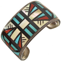 Inlaid Vintage Turquoise Shell Zuni Cuff Bracelet 0232