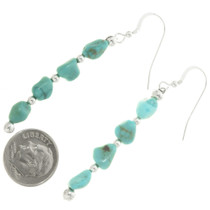 Navajo Turquoise Silver Dangle Earrings 28269