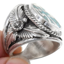 Turquoise Chip Inlay Mens Ring 22973