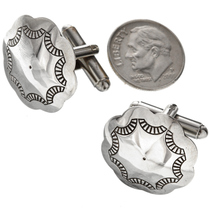 Navajo Hammered Silver Concho Cuff Links 20889