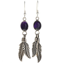 Navajo Amethyst Silver  Earrings 29404