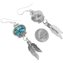Navajo Turquoise Silver Dangle Earrings 27511