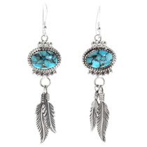Turquoise Feather Dangle Earrings 27511