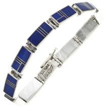 Old Pawn Lapis Sterling Link Bracelet 29087