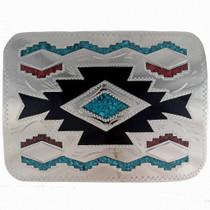 Turquoise Navajo Rug Pattern Buckle 23231