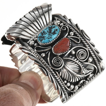 Turquoise Coral Sterling Watch 24447