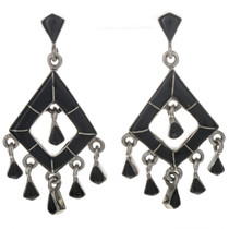 Inlaid Jet Dangle Earrings 12495