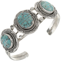 Ladies Turquoise Inlaid Silver Bracelet 28241