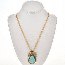 Turquoise Gold Navajo Pendant 29431