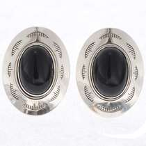 Onyx Sterling Concho Cuff Links 25571
