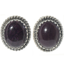 Charoite Silver Navajo Stud Earrings 28451